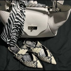 Vince Camuto Black and White Print Mule